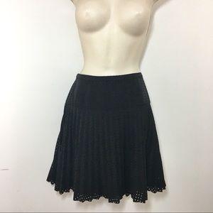 J.crew Laser Cut Pleated Mini Skirt Black size 6